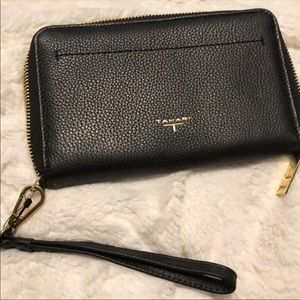 Tahari black leather wristlet